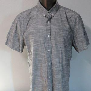 VOLCOM Short Sleeve Button Front Gray Shirt Sz XXL
